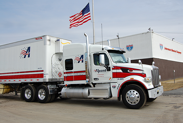 Alpont Transportation private fleet  truck is shown at Interstate Chemical Company's corporate offices.